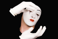 Portrait of  mime in white gloves Royalty Free Stock Photos