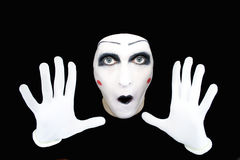 Portrait of the mime in white gloves Stock Images