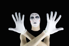 Portrait of the mime in white gloves Stock Photos