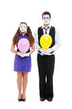 Portrait of mimes with balloons. Isolated on white abckground Stock Images