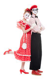 Portrait of mimes. beautiful couple in love. Royalty Free Stock Photography