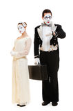 Portrait of mimes in costumes Stock Photo