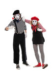 Portrait of mimes in striped costumes Stock Photo