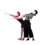 Portrait of mimes in striped costumes Royalty Free Stock Image