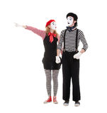 Portrait of mimes. woman pointing at something Stock Photography