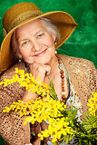Portrait with mimosa. Portrait of a beautiful elderly woman with mimosa flowers. Happy old age stock photography
