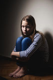 Portrait of a miserable little girl. Studio shot royalty free stock photos