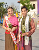 Portrait Miss Chinese cosmos Thailand with traditional dressed . Royalty Free Stock Images