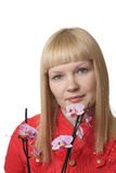 Portrait mit Orchidee Lizenzfreies Stockbild