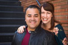 Portrait of Mixed Race Caucasian Woman and Hispanic Man royalty free stock image