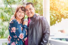 Portrait of Mixed Race Caucasian Woman and Hispanic Man stock images