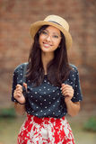 Portrait of a mixed race college student girl at campus outdoors Royalty Free Stock Photo