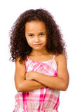 Portrait of mixed race girl. Portrait of pretty African-American mixed race child against white background Royalty Free Stock Photos