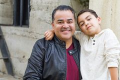 Mixed Race Hispanic and Caucasian Son and Father royalty free stock photos