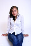Portrait of a Mixed Race Retro Young Woman Royalty Free Stock Photos