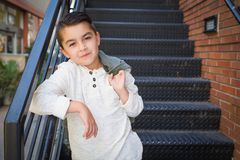 Portrait of Mixed Race Young Hispanic and Caucasian Boy royalty free stock images