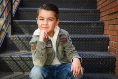 Portrait of Mixed Race Young Hispanic and Caucasian Boy royalty free stock photography