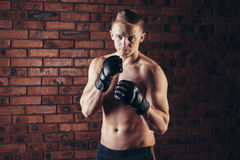 Portrait of mma fighter in boxing pose against brick wall Royalty Free Stock Images