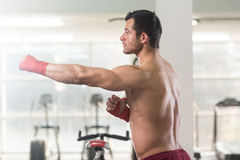 Portrait of a MMA Fighter in Health Club Stock Photo