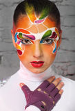 Portrait of a model with bright creative make up Stock Images