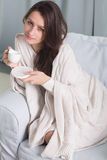 Portrait of a model with a cup of coffee stock photography