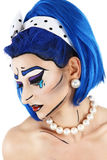 Portrait model makeup with blue wig, on white background Stock Photo