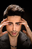 Portrait of model man's face in studio Stock Photo