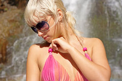 Portrait model on summer waterfall Royalty Free Stock Images