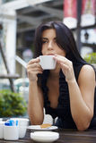 On street with coffee Royalty Free Stock Photography