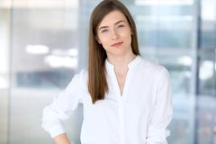 Portrait of modern business woman in the office stock photography