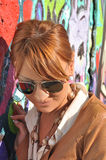 Portrait of modern girl with sunglasses Stock Photos