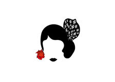 Portrait of modern Latin or Spanish woman, Lady with accessories peineta and red flower , flamenco dancer, Icon isolated, Vector i vector illustration