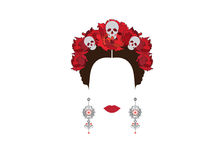 Portrait of modern Mexican or Spanish woman , With flower crowns and skulls,. Mexican crafts earrings , Vector transparent background Royalty Free Stock Photos