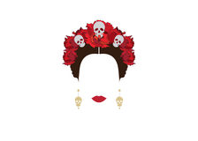 Portrait of modern Mexican or Spanish woman , With flower crowns and skulls, Stock Images