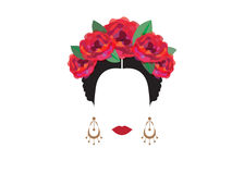 Portrait of modern Mexican or Spanish woman , With flower crowns , Vector transparent background Stock Photo