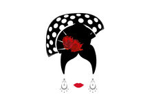 Portrait of modern Mexican or Spanish woman whit Craft accessories, beauty concept, logo Vector illustration transparent backgroun. Portrait of modern Mexican or Royalty Free Stock Photo