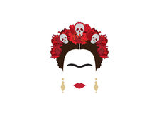 Portrait of modern Mexican woman with skull and red flower, inspiration Santa Muerte in Mexico, vector illustration  Stock Photography