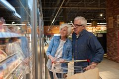 Happy Senior Couple Enjoying Grocery Sopping. Portrait of modern senior couple grocery shopping in supermarket, smiling happily while choosing frozen foods royalty free stock photos
