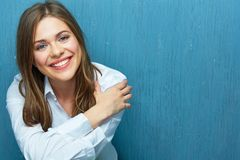 Portrait of modern woman with toothy smile. Royalty Free Stock Photo