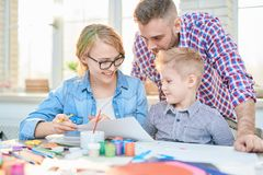 Family Crafting Together at Home royalty free stock photo