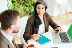 Confident Young Woman Leading Meeting stock images