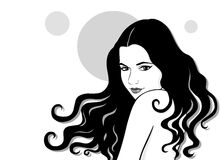 Portrait of the modest girl. Vector illustration:portrait of the modest girl of the brunette isolated on the white Royalty Free Stock Photos