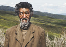 Portrait Mongolian Man Field Senior Tranquil Solitude Concept Stock Photo