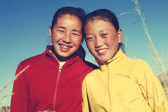Portrait Mongolian Two Sisters Beautiful Smiling Concept Royalty Free Stock Photo
