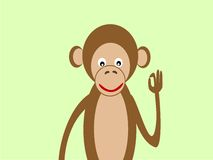 Portrait of a monkey gesture OK success Stock Photography