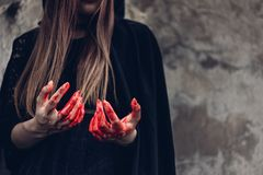 Portrait monster woman ghost and hand have red blood royalty free stock images