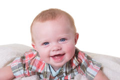 Portrait of a 6 month old baby boy on white Royalty Free Stock Photography