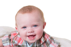 Portrait of a 6 month old baby boy on white Stock Photos