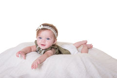 Portrait of a 6 month old baby girl on white Royalty Free Stock Images