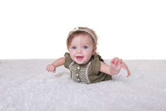 Portrait of a 6 month old baby girl on white Royalty Free Stock Photo